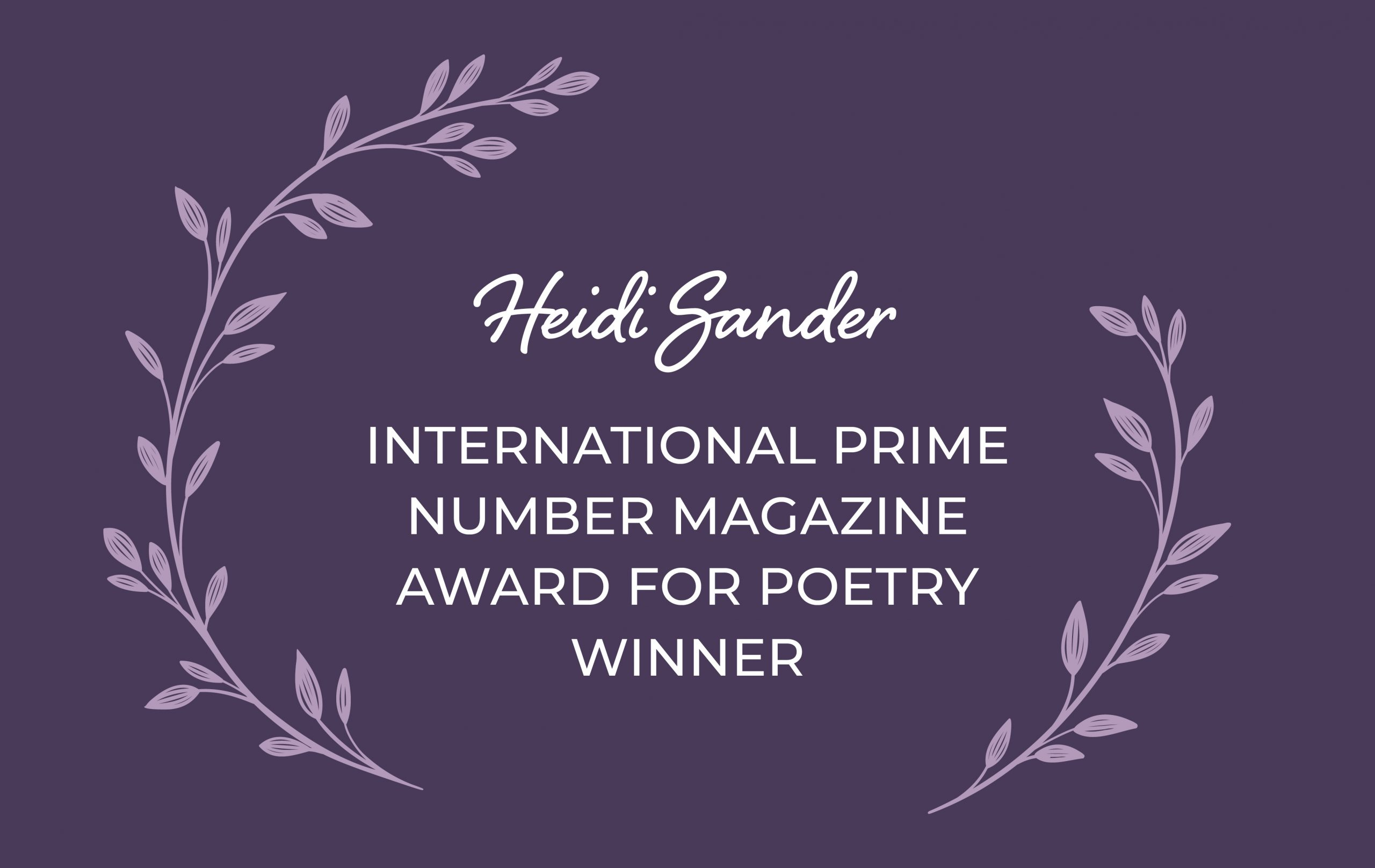 Award Winning Poet Heidi Sander